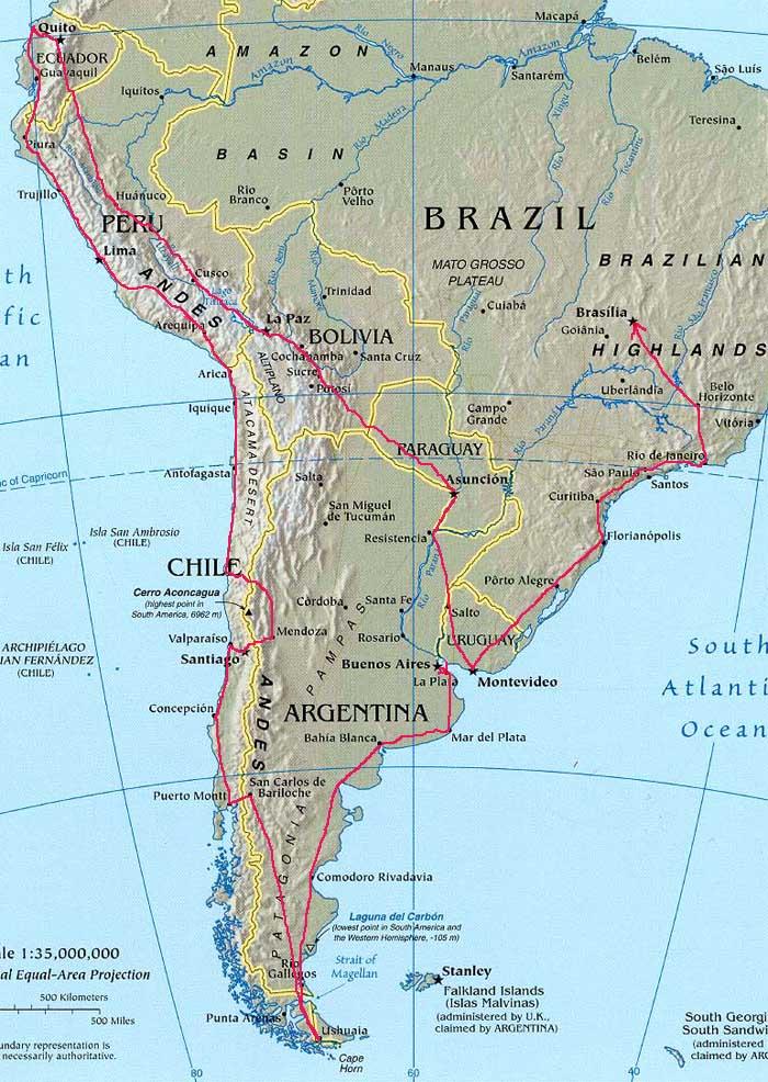 Carte Route Amerique.Voyage En Amerique Du Sud En 2009